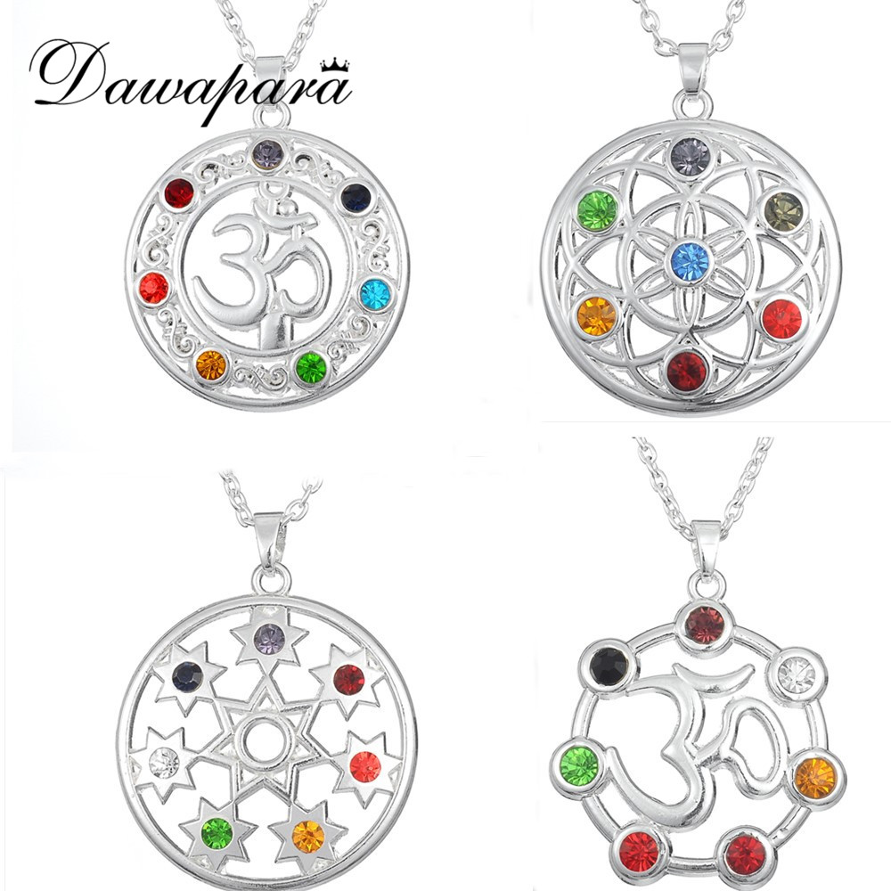 Zamobka Flower of Life Jeweled Stones and Crystal Stations OM Yoga Chakra Pendant Rhinestone մանյակ Mandala India