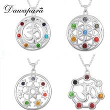 Dawapara Flower of Life Jewerly Stones and Crystals OM Yoga Chakra Pendant Rhinestone Necklace Mandala India