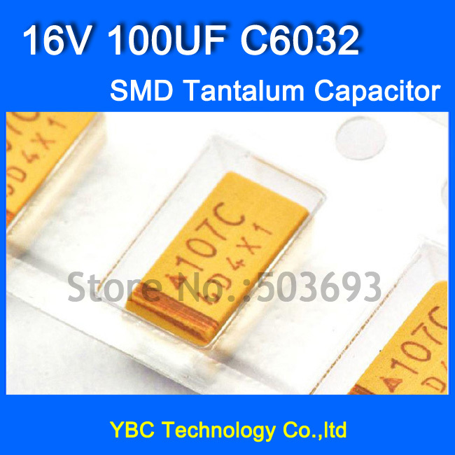 Free Shipping 100pcs/lot 6032 <font><b>SMD</b></font> Tantalum <font><b>Capacitor</b></font> <font><b>16V</b></font> <font><b>100UF</b></font> C6032 Tolerance 10% image