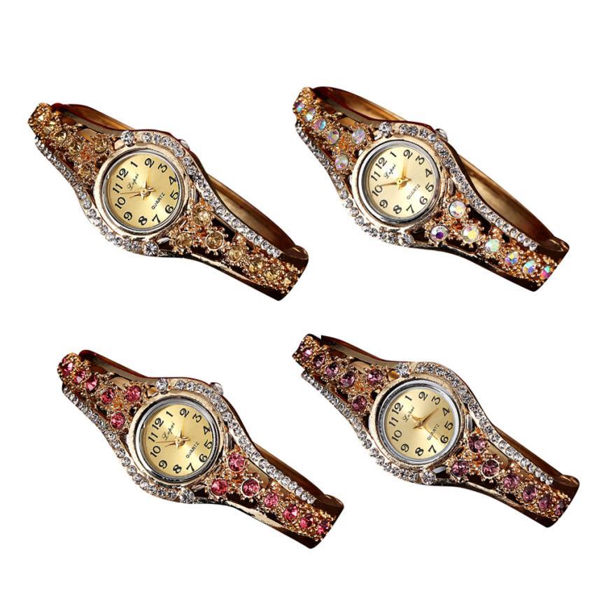 Lvpai Brand Luxury Bracelet Watches Women Gold Fashion Flower Crystal Watch Casual Ladies Quartz Wristwatch Party Accessorie Z20 duoya fashion luxury women gold watches casual bracelet wristwatch fabric rhinestone strap quartz ladies wrist watch clock