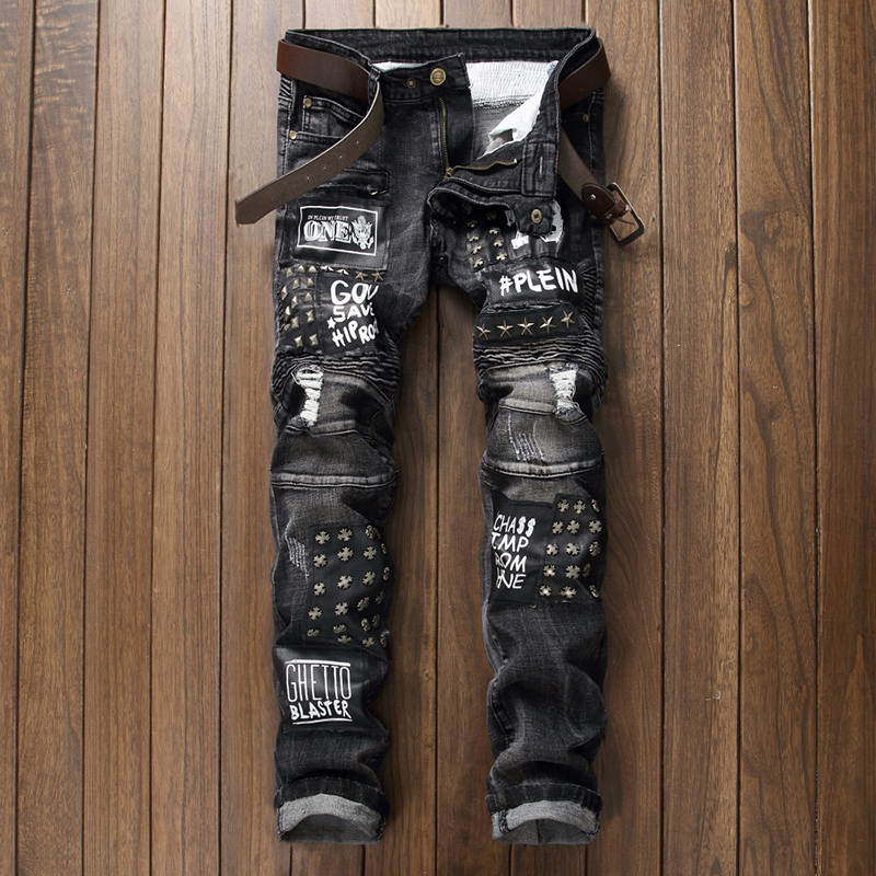 Hip Hop Skinny Male Jeans Casual Cotton Classic Ripped Jenas For Men Rivet Straight Slim Fit Jean Plus Size Harajuku Biker Jeans