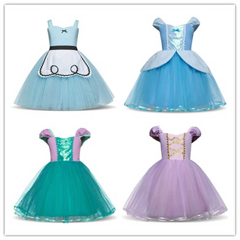 Baby Girl Halloween Princess Dress Rapunzel Cinderella Role-play Costume Kids Carnival Dresses For Girl Festival Gown Age 2-6T
