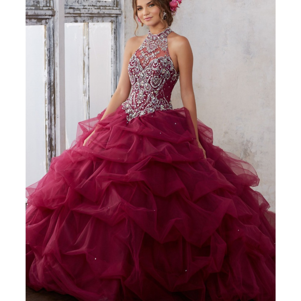Debutante Ball Gown Puffy beaded crystal Formal Prom Dress Cheap Quinceanera Dresses Burgundy Quinceanera Dress Dress