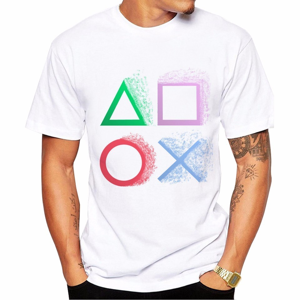 Video Game Playstation Print Men T-shirt Fashion Summer Funny Button  Printed T Shirts Short Sleeve Hipster Anime Tee