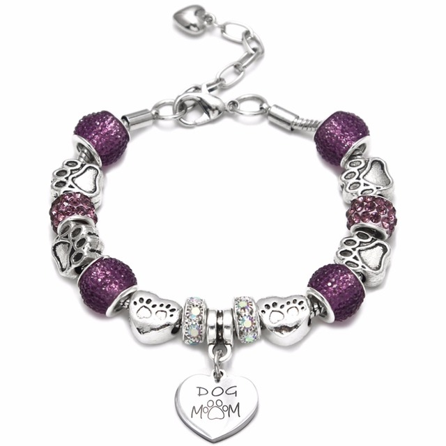 Luxury stainless steel Heart Charm Bracelets & Bangles Dog mom and cat mom pendant Bracelets For Women Original DIY Jewelry Gift