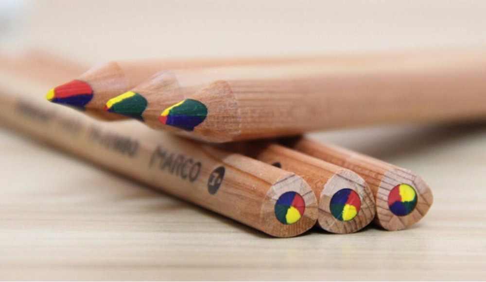 6 unid/set nuevo lápiz de color arcoíris 3 en 1 lápiz de dibujo de colores suministros de arte conjunto de colores de agua- de lápiz