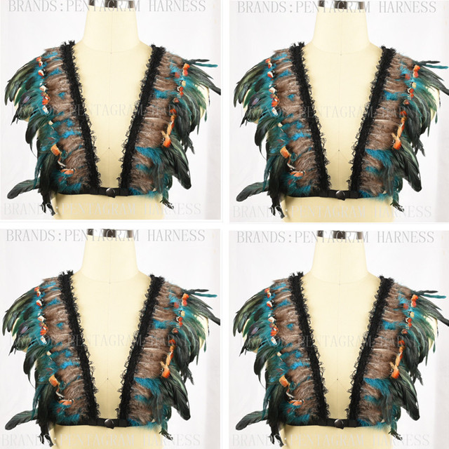 Green Feather Epaulettes Shoulder Accessorie Feathered Shoulder Wedding Wings Bondage Crop Top Feather Bra Goth Festiva Lingerie