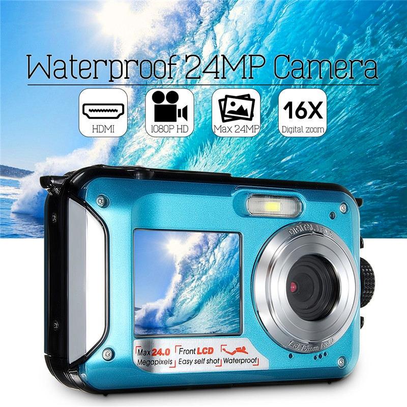 цена на New 2.7 inch Digital Camera Waterproof Camcorder 24MP 16X Zoom FHD 1080P Anti-shake CMOS Digital Camera Travel Durable