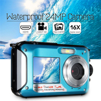 New 2.7 inch Digital Camera Waterproof Camcorder 24MP 16X Zoom FHD 1080P Anti shake CMOS Digital Camera Travel Durable