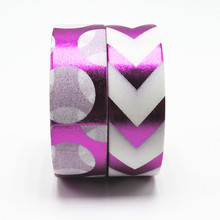 Purple Pattern Foil Washi Tape 1.5cm*10m Office Adhesive Scrapbooking Tools Kawaii Decorative Christmas Cute Masking Tape