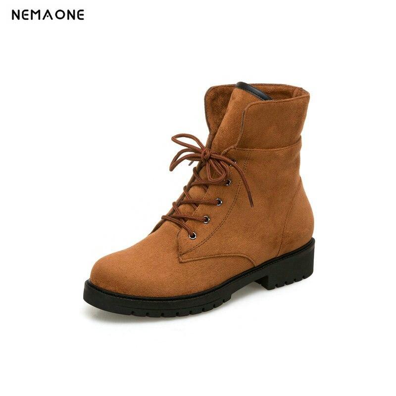 f9f5160f0a1372 NEMAONE Nouveau femmes dentelle jusqu`à la cheville neige bottes talons bas  dames hiver chaud bottes ...