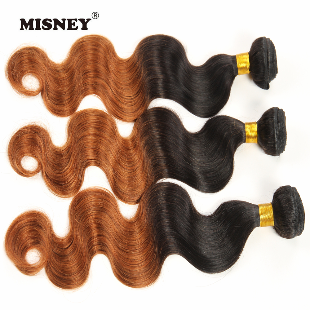 Peruvian Non Remy Hair Ombre Two Tone T1B/30 Human Hair 3 Bundles  Body Wave Hair Weft 12inch-30inch