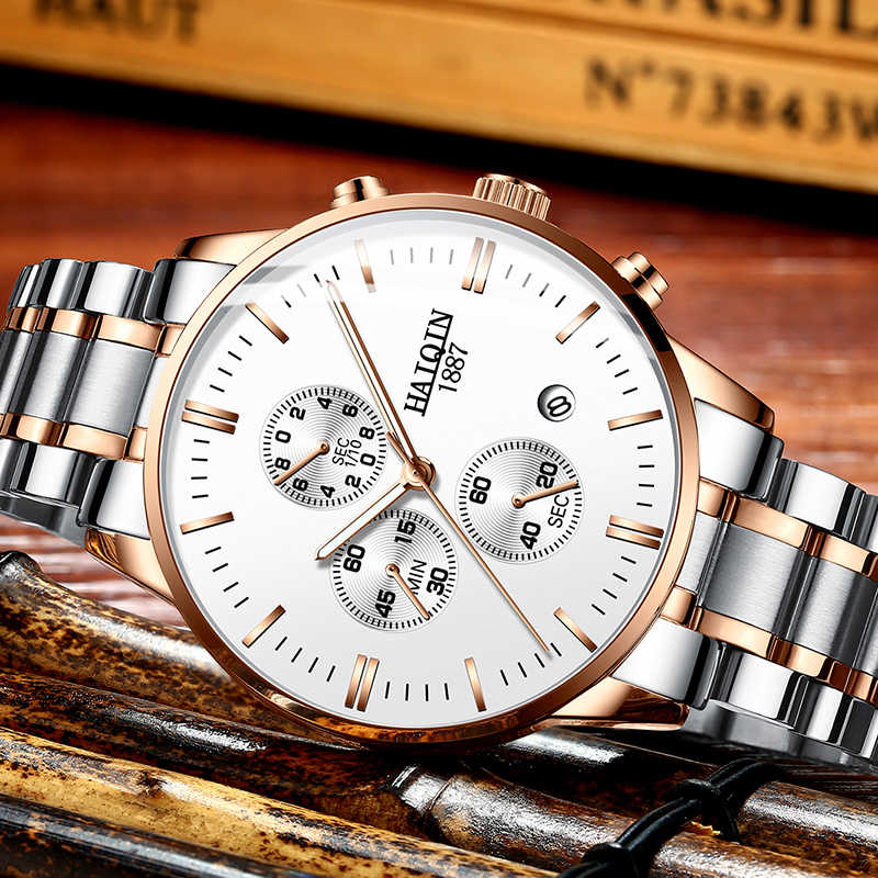 18a2af59a152 ... HAIQIN Men s watches Fashion Watch Men top brand luxury Sport military  Gold  ...