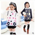 2016 Spring New Children Clothing T shirt  Girls Korean Lace Gauze Bottoming T shirt Cotton Long Sleeve Floral T shirts Tops