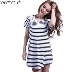 YAYEYOU Black White Elegant Women Shirt Dress Top Tee Summer Short Sleeve Stripes Loose Casual Jersey Mini Shift Dresses Shirt(China)