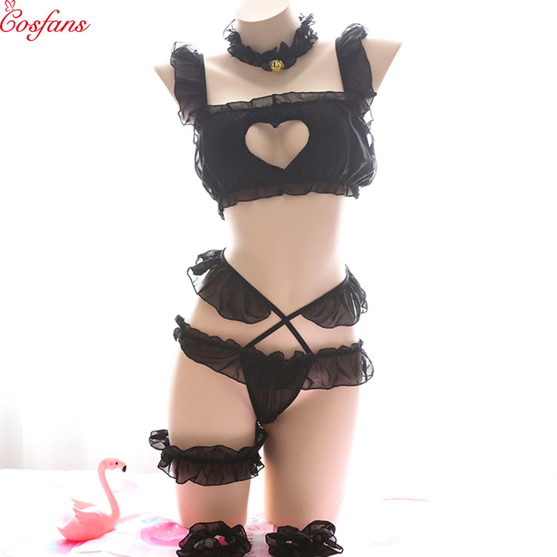 Love live cosplay black cat Bikini Arrive Kawaii Kitty Cat Comet Hollow Bra and Underwear Love live Anime Cosplay Underwear Set