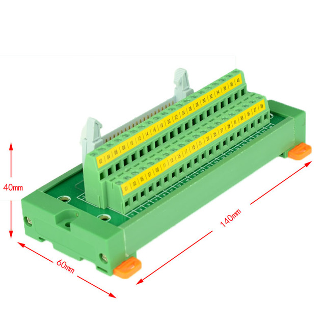 US $20 0 |IDC40 male to terminal block breakout board idc 40 connector PLC  relay adapter DIN Rail Mounting IDC40 Mini Breakout baord-in Connectors