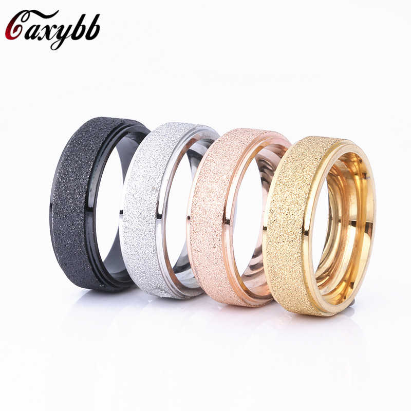 Rose Gold/Gold/Silver Color Frosted Finger Ring for Woman Man Wedding Jewelry 316L Stainless Steel Top Quality Never Fade