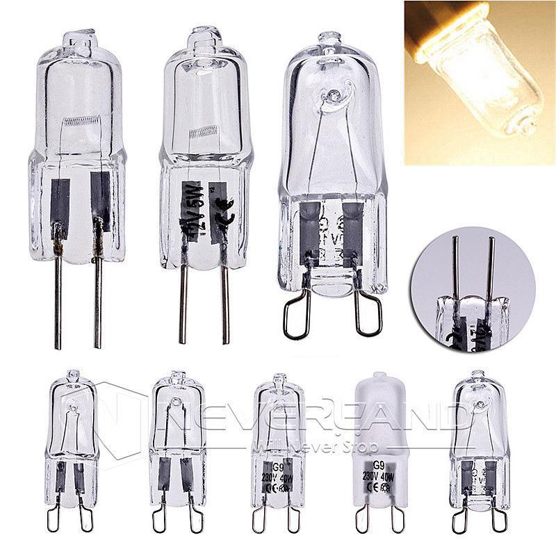 10pcs 12V G4/220-240V G9 5/10/18/20/25/40/50W Halogen Capsule Light Lamp Bulb High Bright Warm White Wedding Party Decoration