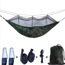 Hot Sale Single Double Hammock Outdoor Mosquito Net Parachute Camping Hanging Sleeping Bed Swing Portable Chair