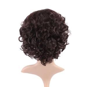 """Image 2 - S noilite 10 """"короткие курчавые синтетические волосы, парики, бразильские волосы Remy, афро волосы для черных женщин, натуральные волосы с челкой"""