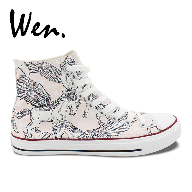 Wen Design Hand Painted Shoes White Unicorn Pegasus Wings Canvas High Top Athletic Shoes Light Pink Women Men Sneakers wen original hand painted canvas shoes space galaxy tardis doctor who man woman s high top canvas sneakers girls boys gifts