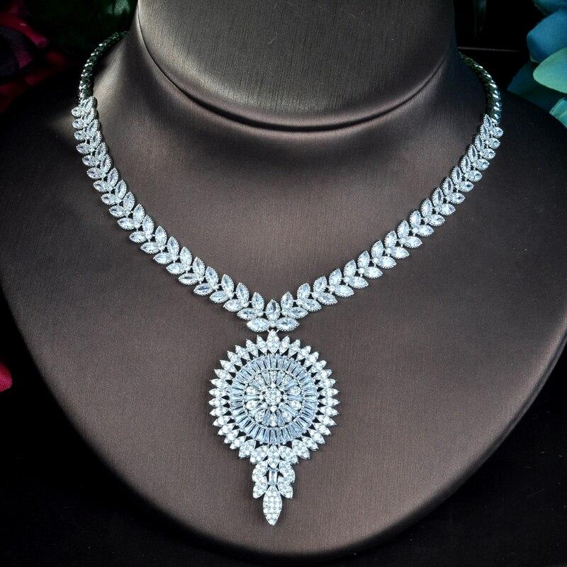 HIBRIDE grand pendentif Design de luxe cubique zircone ensembles de bijoux pour les femmes fête de luxe Dubai Nigeria mariage bijoux ensembles N-809 - 2