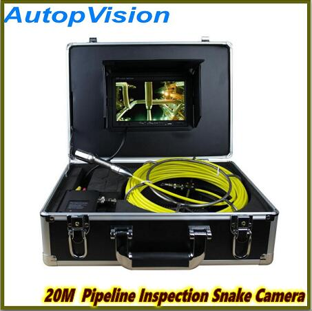 New Arrival 20m Cable 7'' TFT LCD Sewer Pipeline Endoscope Inspection Snake Camera Steel Lens Waterproof with dvr 20m cable fiber glass 7 tft lcd waterproof pipe sewer inspection camera ccd600tvl with meter accounter endoscope snake camera