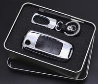 רכב סגסוגת אבץ + עור קליפת כיסוי מפתח מחזיק עבור פולקסווגן גולף 7 MK7 פאסאט פולו בורה לסקודה אוקטביה A7 Kodiaq מפתח מתקפל