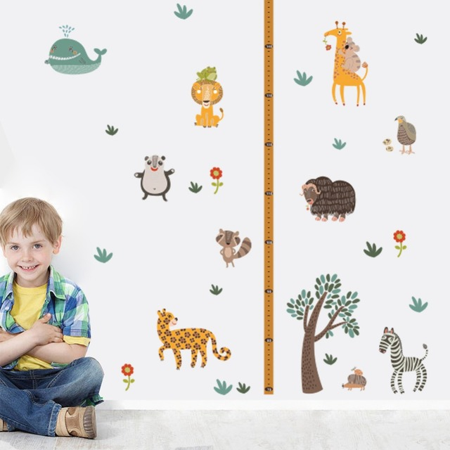 Jungle Wild Forest Zoo Animals Tree Height Measure Wall Stickers for Kids  Room Safari Growth Chart 5d98fc5d3a37