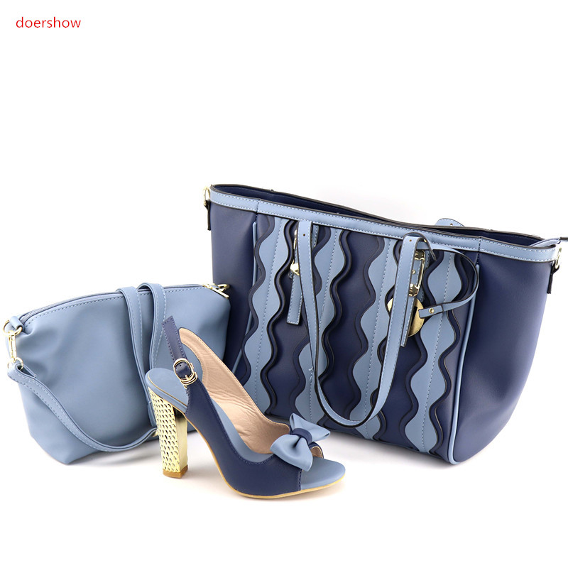 doershow beautiful blue African shoes and matching bags with rhinestones!High class lady shoes and bags for party UL1-7 geparlys beautiful lady