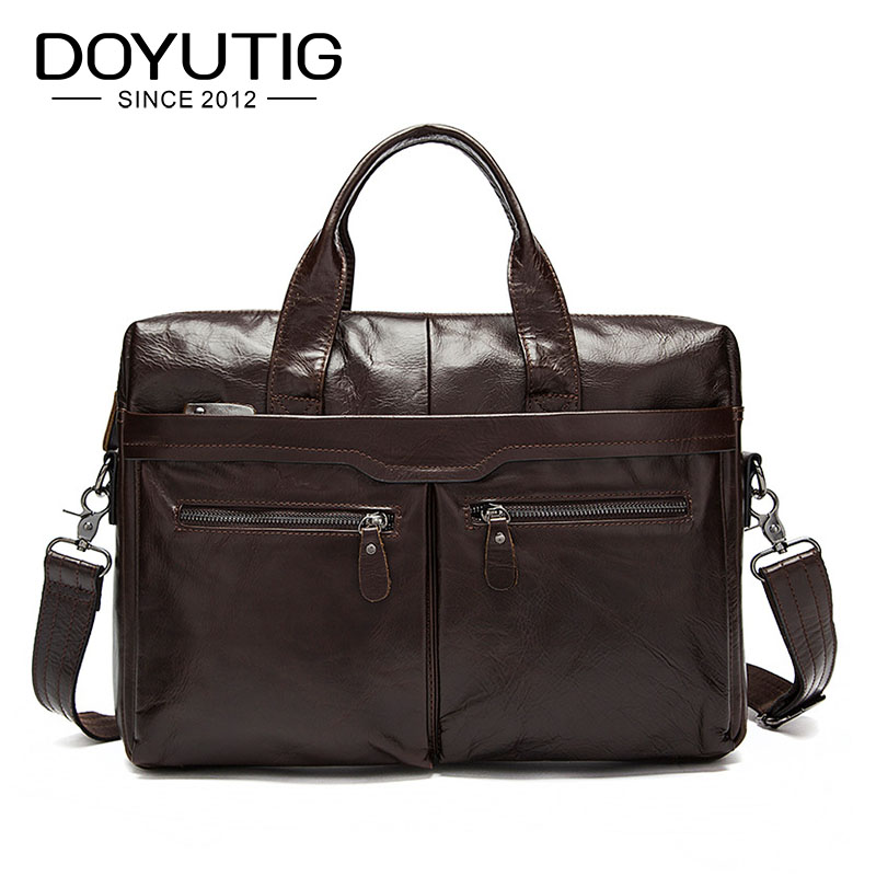 DOYUTIG Casual Crazy Horse Genuine Leather Men Briefcase Messenger Laptop Bag Men Briefcase Business Travel Shoulder Bags G108 цены