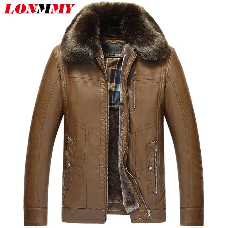 LONMMY 4XL Men faux fur jacket coat Plus velvet thicken Black fur collar leather jacket men PU Suede Casual Outerwear 2017Winter