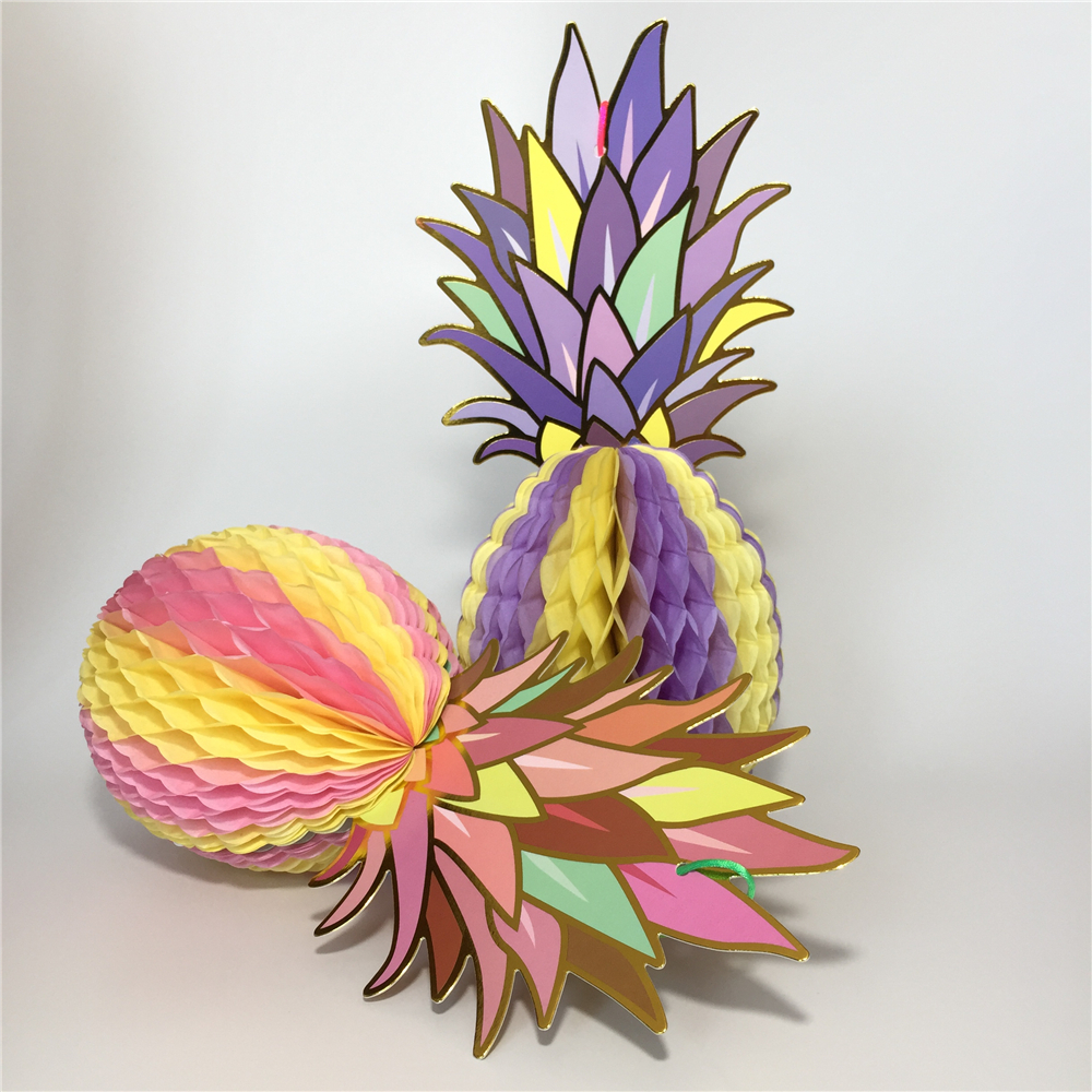 VOILEY 1 Pcs Paper Pineapple Shape Honeycomb Decoration Summe Party Pineapple Garland Table Centerpiece BEACH POOL LUAU PARTY,7