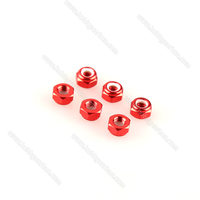 Free Shipping 50pcs Lot CW RED M3 Lock Nut RED Aluminum Lock Nut With Nylon Inserted