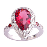 lingmei Wholesale Pear Cut Ruby Spinel White Topaz 925 Silver Ring Size  6 7 8 9 10 11 Fashion Women Engagement Wedding Jewelry