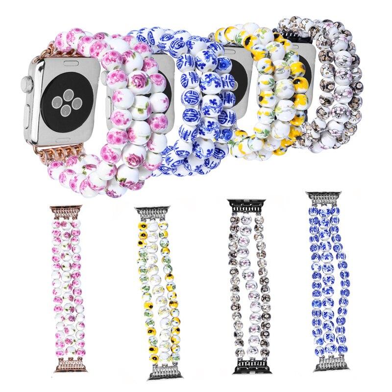 Handmade Women Ceramic Beads Bracelet for Apple Watch Series 1 2 3 4 40mm 44mm 42mm 38mm Strap for Apple Iwatch Wristbands Watchbands     - title=