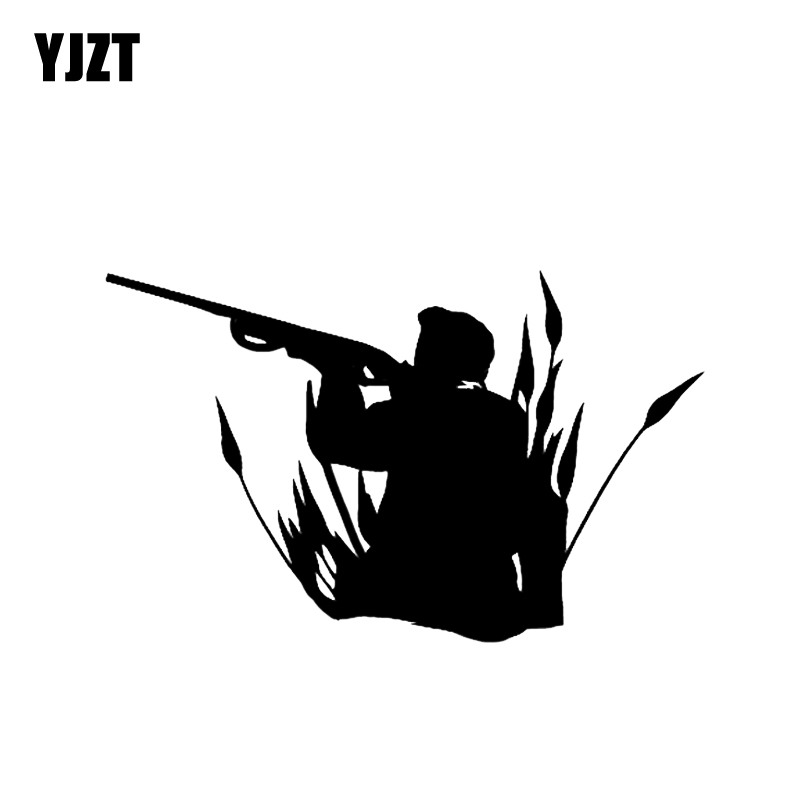 YJZT 13.5*8.4CM Interesting Shooting Hunter Gun Car Sticker Vinyl High Quality Decoration C12-0348
