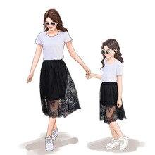 Mamá y yo ropa vestido blanco y negro vestido de encaje, falda de playa de vacaciones de playa vestidos de la hija de madre vestido de verano