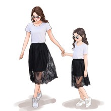 Mommy And Me Clothes Dress Black and white Lace skirt seaside holiday breathable beach mother daughter dresses summer dress spring and summer new style seaside holiday dress solid color split strap dress open back beach dress