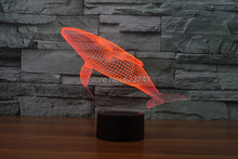 8pcs/lot 7 Color changing 3D Flashing Whale Acrylic LED Fish Night Light with USB power multicolor Cetacea table Lamp of LEDS