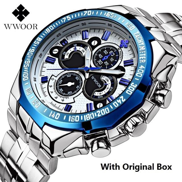 Brand WWOOR Men Watch Big Dial  Steel Men's Watches Military Male Luminous Mens Watches Waterproof Wristwatch Relogio Masculino