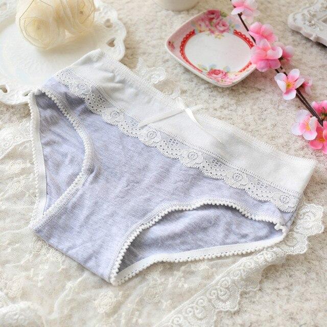 680ccc515d33 Korean Style Sweet Lace Briefs 100% Cotton Women Cute Panties Elegant Gray  for Cute Girl Ladies Cotton Underwear Wholesale