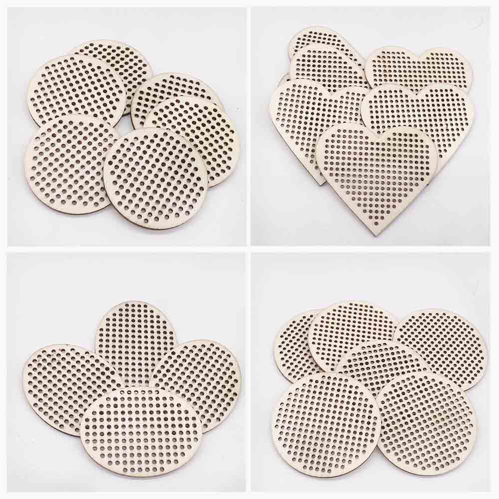 30 Pcs Heart Circle Shapes Cross Stitch Hole Carving Wooden Scrapbooking Craft For Embellishments Handmade Diy Handicraft Decor