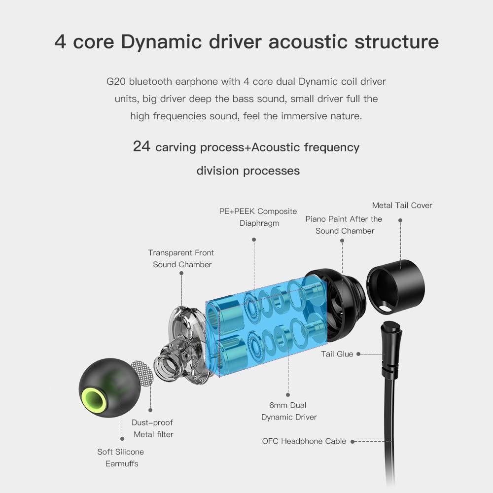 AWEI G20BL Bluetooth Earphone Wireless Headphone Neckband Headset Earpiece Dual Driver Earphone For Phone Casque Auriculares 2