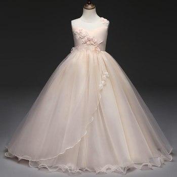 0ac01d3af45b63 Kinderkleding 2018 Elegante Jurk Voor Meisje lange Jurken Voor Kids Party  en Wedding Mouwloze Bloemen Mooie Ceremonie Jurken