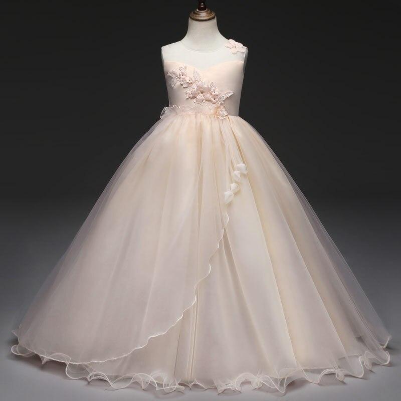 099d4bda5bc Ropa para niños 2018 vestido elegante para niña vestidos largos para fiesta  y boda sin mangas Floral hermosos vestidos de ceremonia