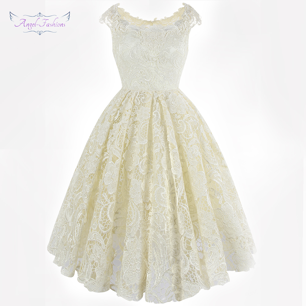 Angel-fashions Women's Cocktail Dresses Ball Gown Lace Fashionable Affordable Party Dress White J-180503-S