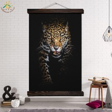 Hunting Cheetah Single Vintage Posters and Prints Scroll Painting Canvas Wall Art Pictures Framed Home Decoration