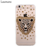Top Fashion Luxury Rhinestone Diamond 3D Leopard Hard Case Clear Cover For Iphone 6 Plus 5s